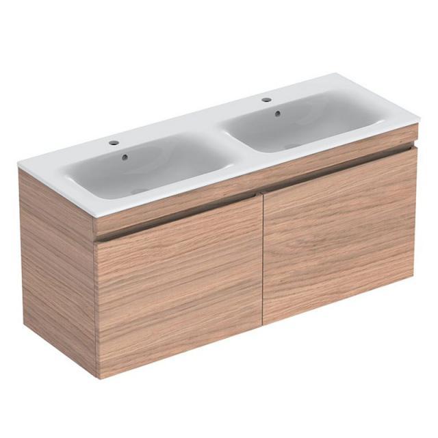 Geberit Renova Plan Waschtischunterschrank für Doppelwaschtisch mit 2 Auszügen Front eiche dunkel/Korpus eiche dunkel