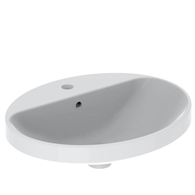 Geberit VariForm Einbauwaschtisch, oval weiß, ungeschliffen, mit KeraTect, mit Überlauf