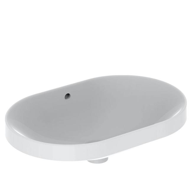 Geberit VariForm Einbauwaschtisch, elliptisch weiß, geschliffen, mit Überlauf
