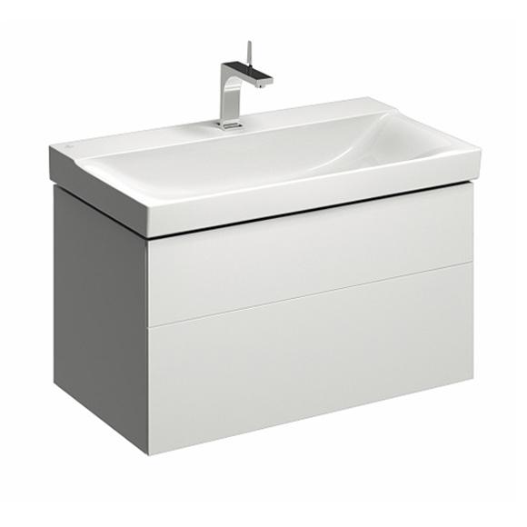 Geberit Xeno² Waschtischunterschrank mit 2 Auszügen Front weiß hochglanz/Korpus weiß hochglanz
