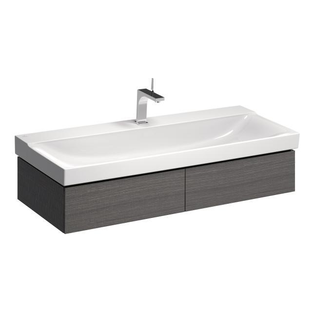 Geberit Xeno² Waschtischunterschrank für Doppelwaschtisch mit 2 Auszügen Front scultura grau/Korpus scultura grau