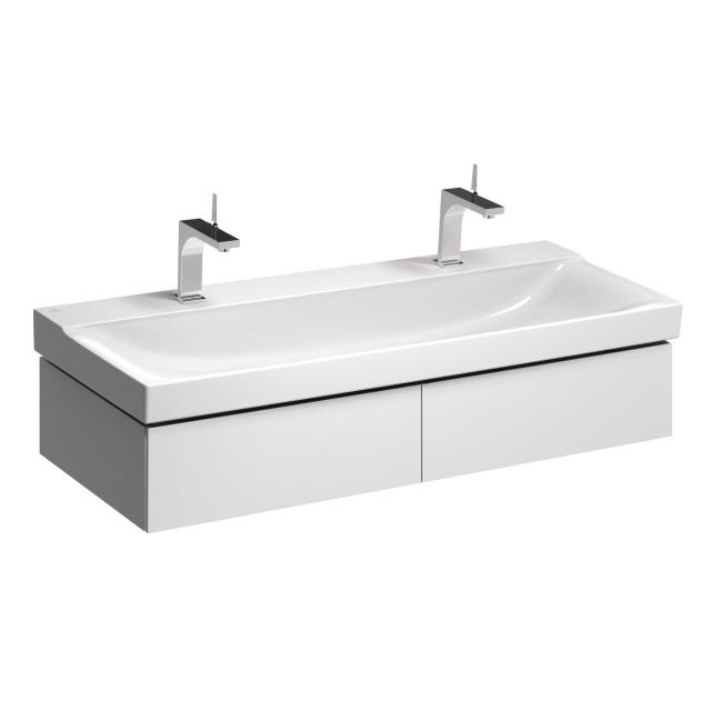 Geberit Xeno² Waschtischunterschrank für Doppelwaschtisch mit 2 Auszügen Front weiß hochglanz/Korpus weiß hochglanz
