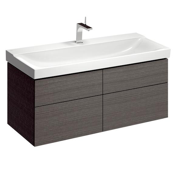 Geberit Xeno² Waschtischunterschrank für Doppelwaschtisch mit 4 Auszügen Front scultura grau/Korpus scultura grau