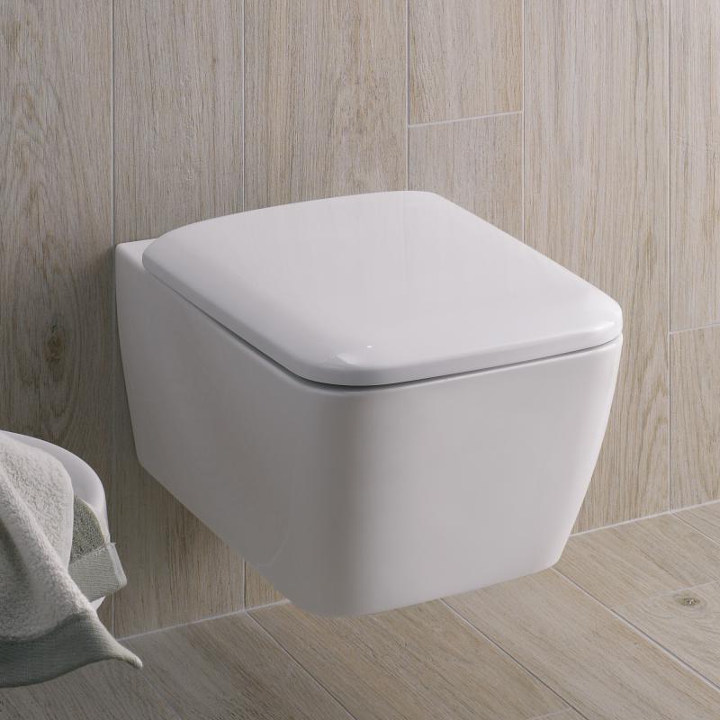 Super Geberit iCon Square Wand-Tiefspül-WC ohne Spülrand weiß mit OV07