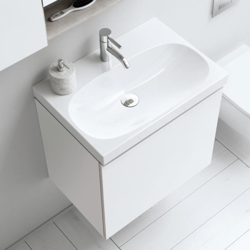 keramag acanto waschtischunterschrank mit 1 auszug front wei korpus wei hochglanz 500609012. Black Bedroom Furniture Sets. Home Design Ideas