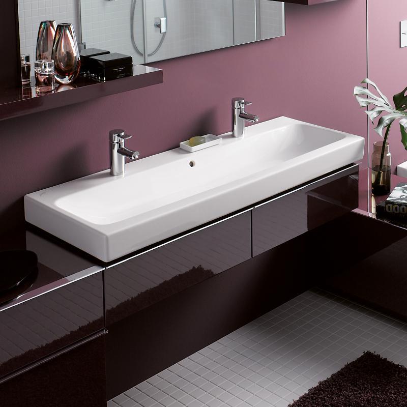 keramag icon doppelwaschtisch wei mit 2 hahnl chern 124020000 reuter. Black Bedroom Furniture Sets. Home Design Ideas