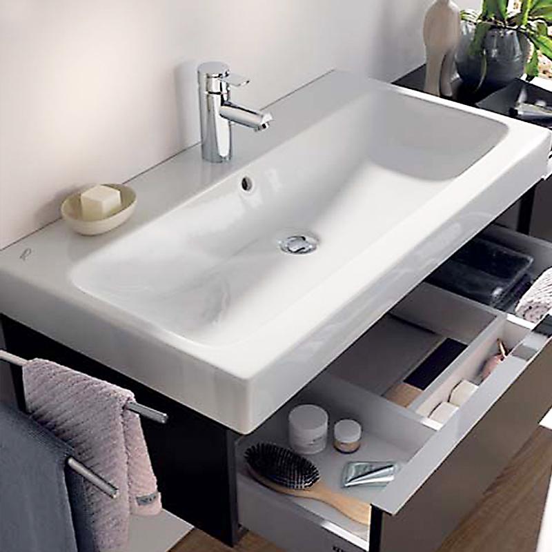 keramag icon waschtisch wei mit 1 hahnloch mit berlauf 124090000 reuter. Black Bedroom Furniture Sets. Home Design Ideas