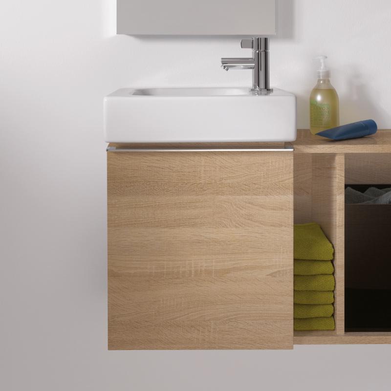 keramag icon xs handwaschbecken unterschrank mit 1 t r front und korpus holzstruktur eiche natur. Black Bedroom Furniture Sets. Home Design Ideas