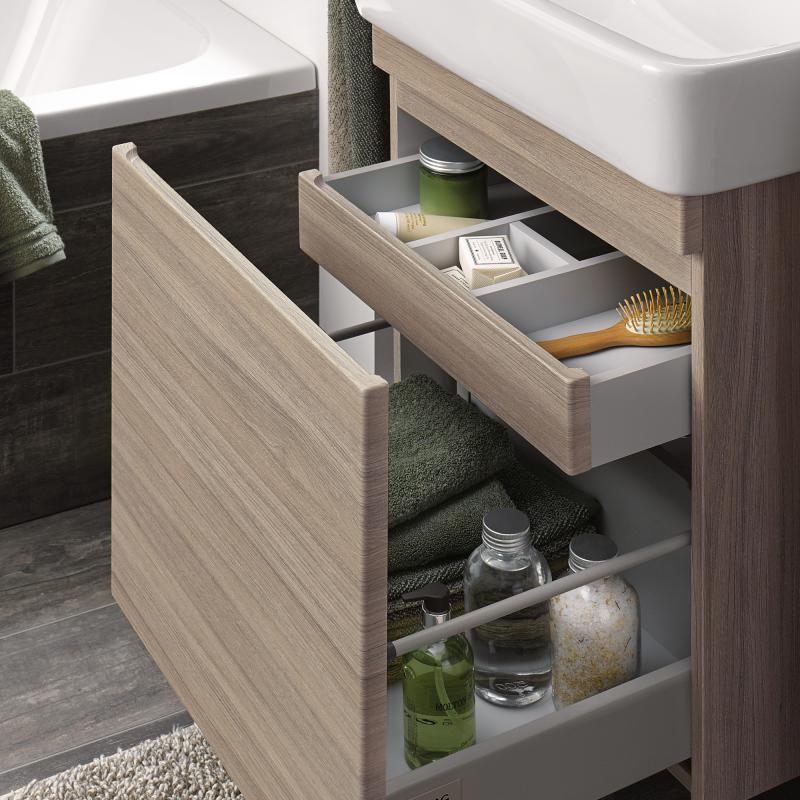 keramag renova nr 1 plan waschtischunterschrank mit 1 auszug front und korpus ulme geb rstet. Black Bedroom Furniture Sets. Home Design Ideas