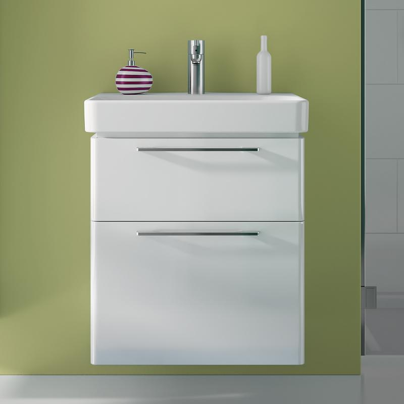 keramag smyle waschtischunterschrank mit 2 ausz gen front und korpus wei hochglanz 805060000. Black Bedroom Furniture Sets. Home Design Ideas