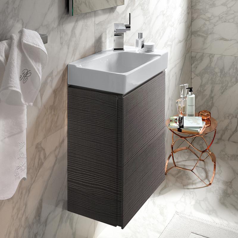 keramag xeno handwaschbecken unterschrank mit 1 t r front scultura grau korpus scultura grau. Black Bedroom Furniture Sets. Home Design Ideas