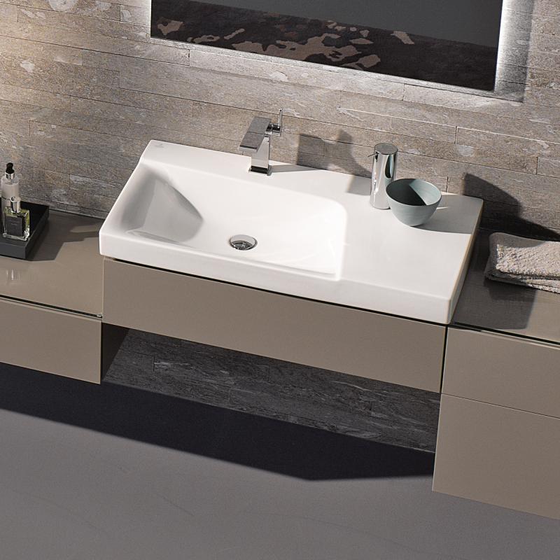 keramag xeno waschtisch mit ablagefl che wei mit keratect mit 1 hahnloch 127190600 reuter. Black Bedroom Furniture Sets. Home Design Ideas