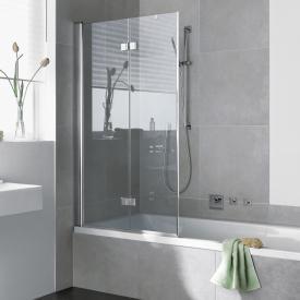 Kermi Diga Badewannenaufsatz Faltwand 2-flügelig ESG klar mit KermiClean / silber hochglanz