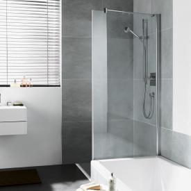 Kermi Diga Seitenwand verkürzt neben Badewanne ESG transparent / silber hochglanz