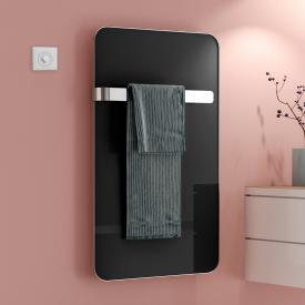 Kermi Elveo Badheizkörper für rein elektrischen Betrieb schwarz/aluminium, 255 Watt, mit Elektro-Set WKS in weiß