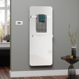 Kermi Elveo Badheizkörper für rein elektrischen Betrieb mit Handtuchhalter weiß, 400 Watt, mit Elektro-Set WFC in weiß