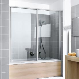 Kermi Ibiza 2000 Badewannenaufsatz  Gleittür 2-teilig mit Festfeld ESG klar mit KermiClean / silber mattglanz