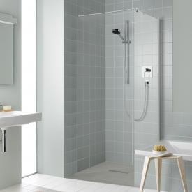 Kermi Liga Seitenwand verkürzt neben Badewanne ESG klar / silber hochglanz