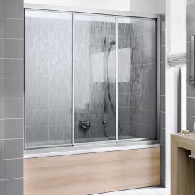 Kermi Nova 2000 Badewannenaufsatz Gleittür 3-teilig Kunstglas kerolan fontana / silber mattglanz