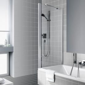 Kermi Raya Seitenwand verkürzt auf Badewanne ESG klar / silber hochglanz