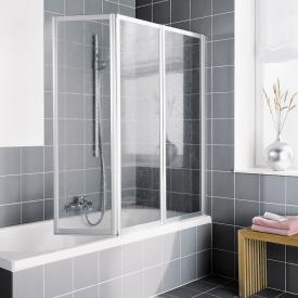 Kermi Vario 2000 Faltwand auf Badewanne 3-flügelig Kunstglas kerolan Perl / silber mattglanz