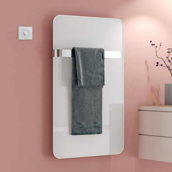 Kermi Elveo Infrarotheizungs-Set mit Handtuchhalter weiß, 255 Watt, Elektro-Set WKS