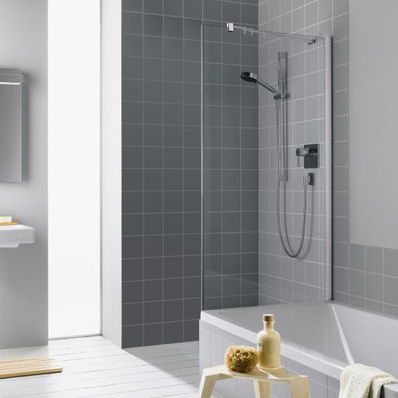 Kermi Filia XP Seitenwand verkürzt auf Badewanne ESG klar / silber hochglanz