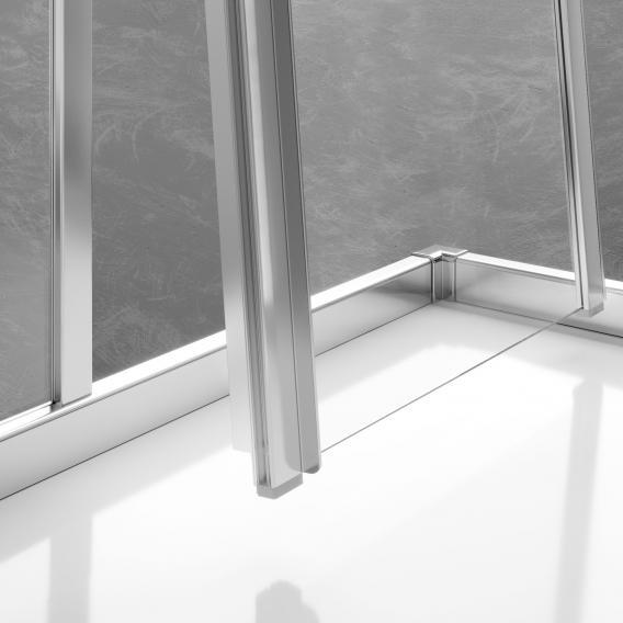 Kermi Liga Gleittür Eckeinstieg 2-teilig ESG klar mit KermiClean / silber mattglanz
