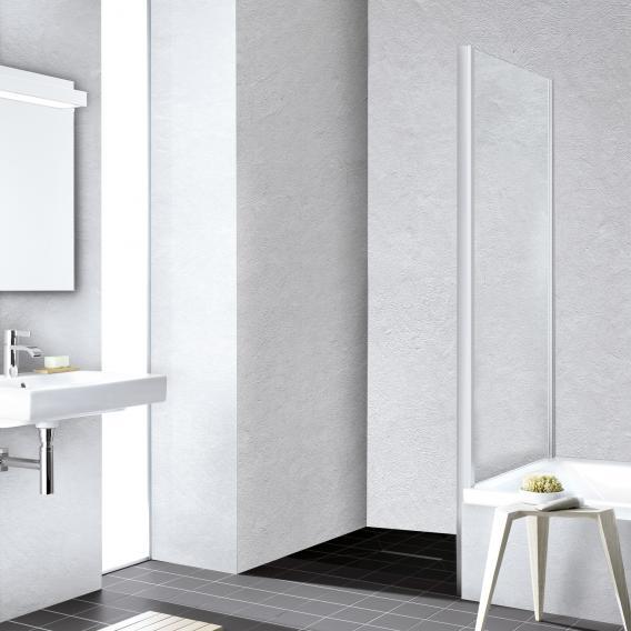 Kermi Liga Seitenwand verkürzt auf Badewanne ESG klar mit KermiClean / silber mattglanz