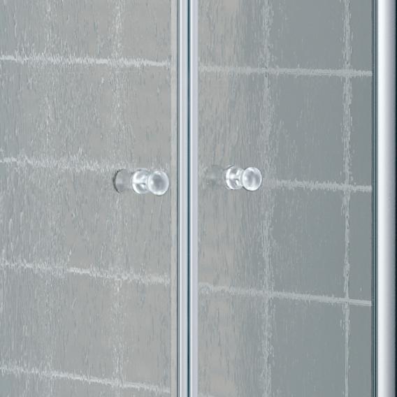 Kermi Nova 2000 Fünfeck Pendeltüren mit Festfeldern Kunstglas kerolan fontana / silber mattglanz