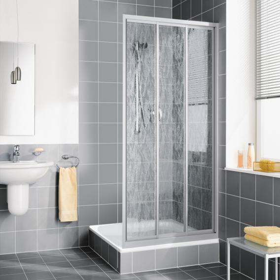 Kermi Nova 2000 Gleittür 3-teilig Kunstglas kerolan fontana / silber mattglanz