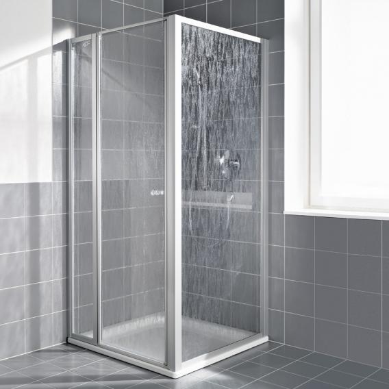 Kermi Nova 2000 Seitenwand Kunstglas kerolan fontana / silber mattglanz