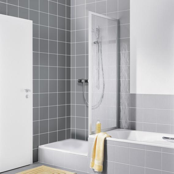 Kermi Nova 2000 Seitenwand verkürzt auf Badewanne Kunstglas kerolan fontana / silber mattglanz