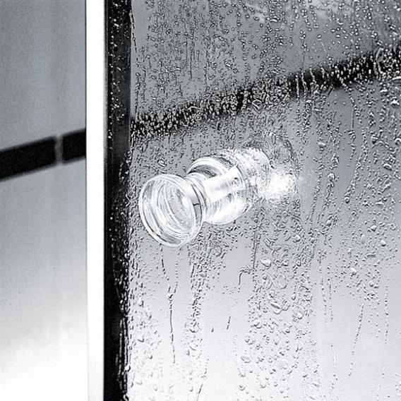 Kermi Nova 2000 Viertelkreis Pendeltür mit Festfeldern Kunstglas kerolan fontana / silber mattglanz