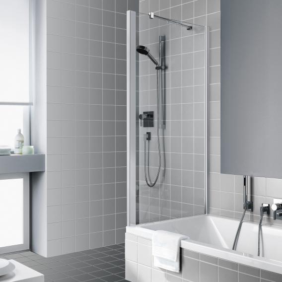 Kermi Raya Seitenwand verkürzt auf Badewanne ESG klar / silber mattglanz