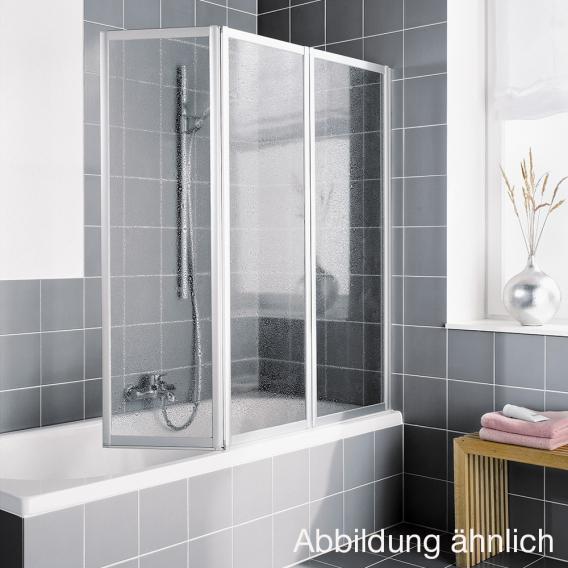 Kermi Vario 2000 Faltwand auf Badewanne 3-flügelig ESG klar / silber mattglanz