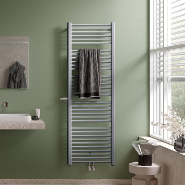Kermi Basic-Plus Badheizkörper mit eingebautem Thermostatventil für Warmwasser- oder Mischbetrieb glanzsilber metallic, 631 Watt, links
