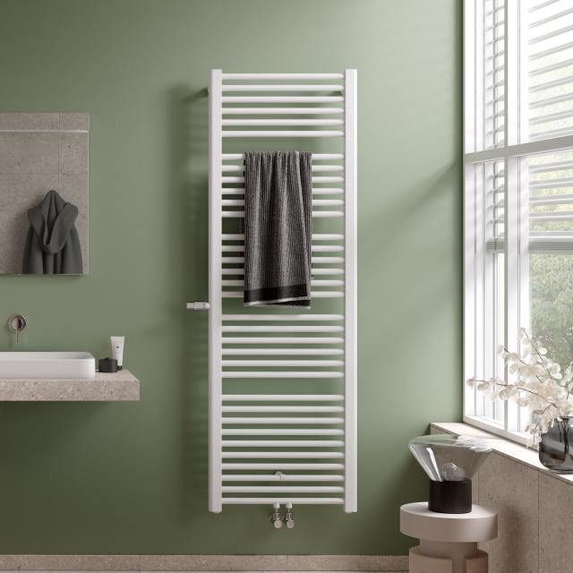 Kermi Basic-Plus Badheizkörper mit eingebautem Thermostatventil für Warmwasser- oder Mischbetrieb weiß, 1000 Watt, links