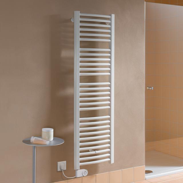 Kermi Basic R-E Badheizkörper für rein elektrischen Betrieb mit gebogenen Rohren weiß, 600 Watt, Elektro-Set FKS links