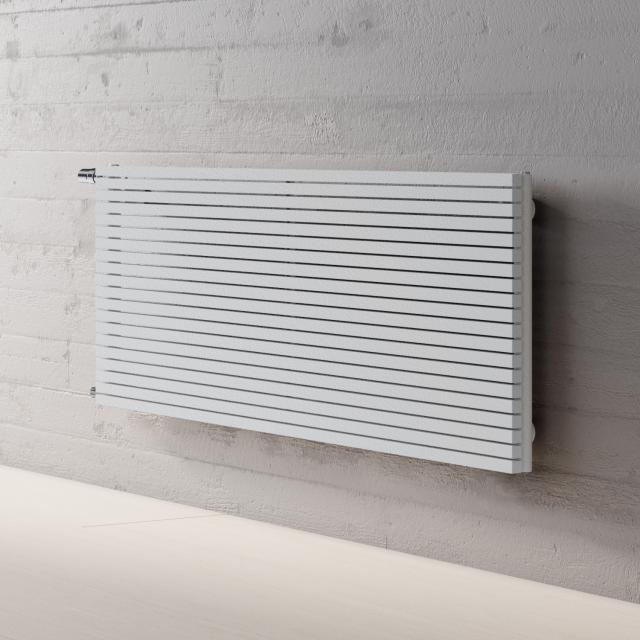 Kermi Decor-Arte Pure Badheizkörper horizontal für Warmwasserbetrieb weiß struktur, 593 Watt, seitlich links