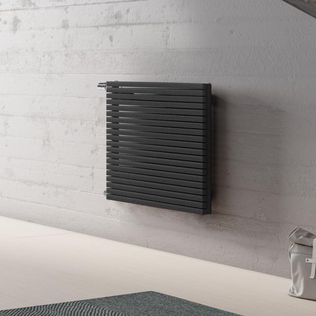 Kermi Decor-Arte Pure Badheizkörper horizontal für Warmwasserbetrieb anthrazit metallic, 507 Watt, seitlich links