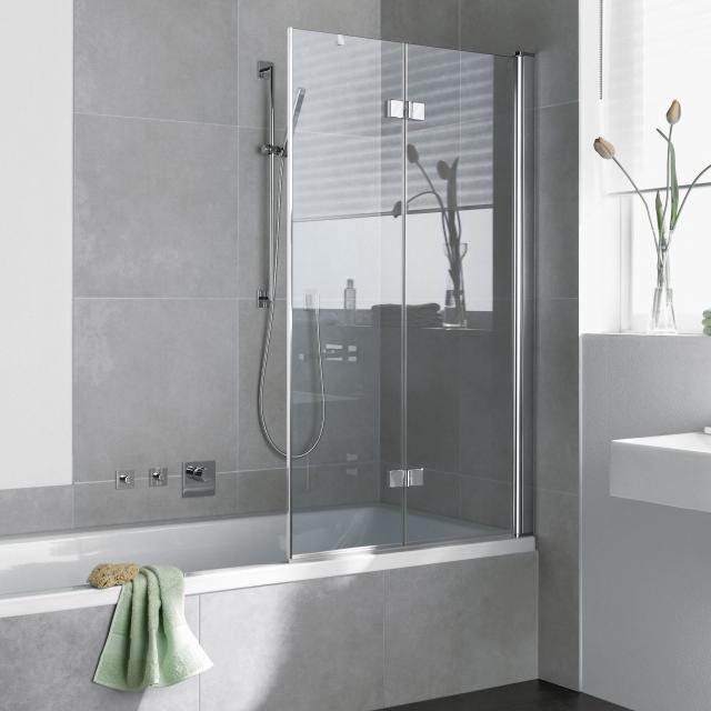 Kermi Diga Faltwand 2-flügelig auf Badewanne ESG klar mit KermiClean / silber hochglanz