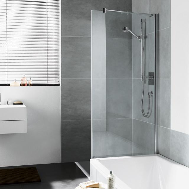 Kermi Diga Seitenwand verkürzt neben Badewanne ESG klar / silber hochglanz