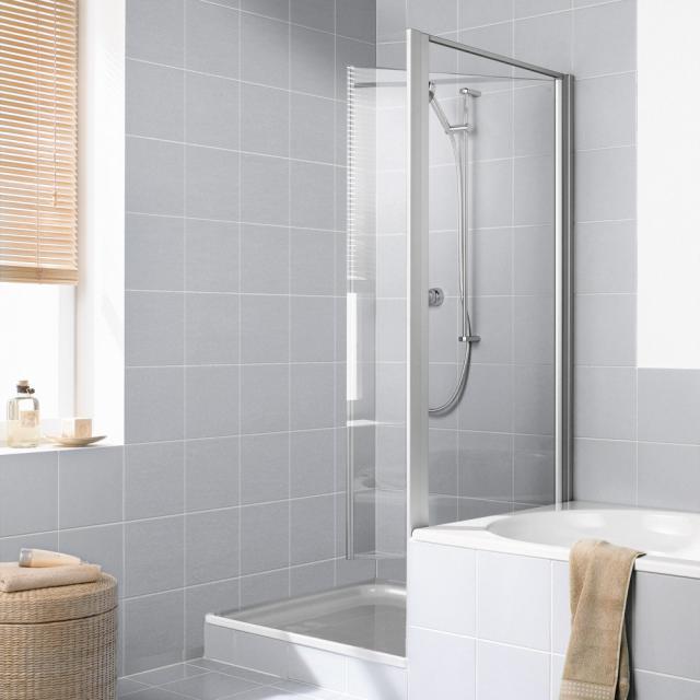 Kermi Ibiza 2000 Seitenwand verkürzt, beweglich neben Badewanne ESG klar / silber mattglanz