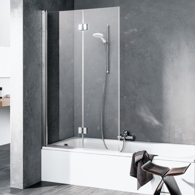 Kermi Liga Faltwand 2-flügelig auf Badewanne ESG klar mit KermiClean / silber hochglanz