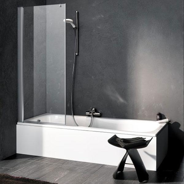 Kermi Pega Pendeltür auf Badewanne ESG klar / silber hochglanz