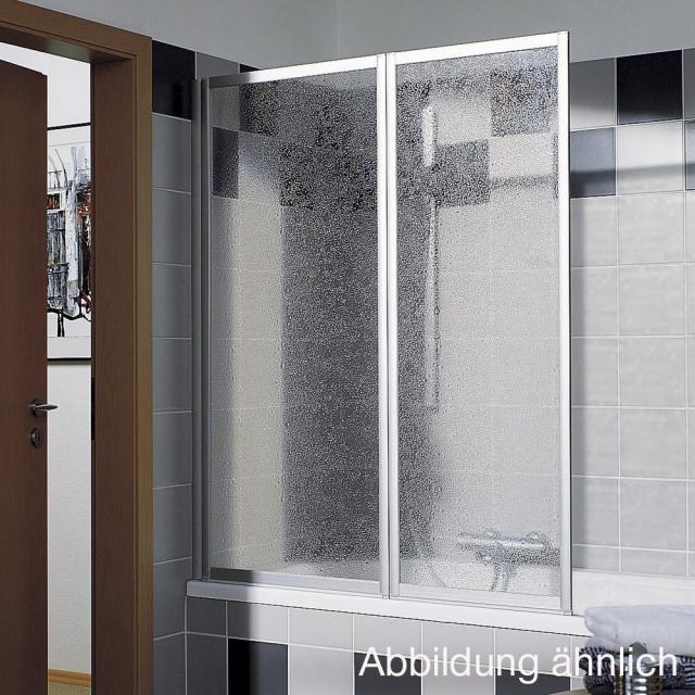 Kermi Vario 2000 Faltwand 2-flügelig auf Badewanne ESG klar mit KermiClean / silber mattglanz