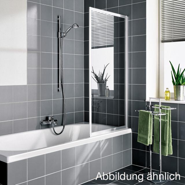 Kermi Vario 2000 Pendeltür auf Badewanne Kunstglas kerolan Perl / silber mattglanz