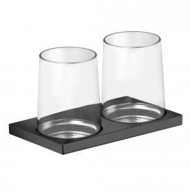 Keuco Edition 11 Doppelglashalter für Wandmontage schwarz chrom gebürstet