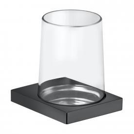 Keuco Edition 11 Wandhalter mit Glas schwarz chrom gebürstet